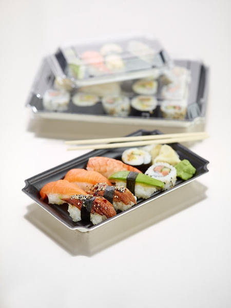 VASCHETTA SUSHI MEDIA NERA BIODEGRADABILE PER TAKE AWAY CON COPERCHIO 243x147 MM