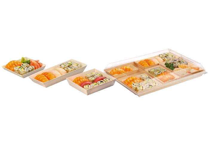 VASCHETTA SUSHI IN LEGNO PER TAKE AWAY CON COPERCHIO 130x65 MM