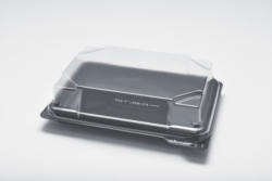 VASCHETTA SUSHI NERA MONOUSO PER TAKE AWAY CON COPERCHIO 160x110 MM