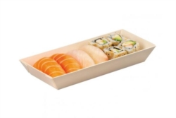 VASCHETTA SUSHI IN LEGNO PER TAKE AWAY CON COPERCHIO 215x85 MM