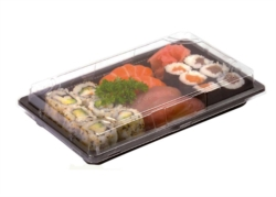 VASCHETTA SUSHI NERA MONOUSO PER TAKE AWAY CON COPERCHIO 180x130 MM