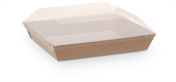 PIATTINO QUADRATO IN CARTONCINO PER TAKE AWAY CON COPERCHIO 130x130 MM
